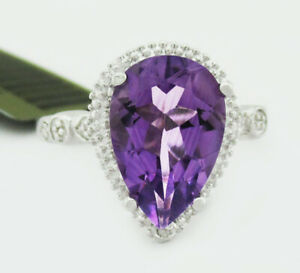 GENUINE 3.45 Cts AMETHYST & DIAMOND RING .925 SILVER * New With tag * size 7.25