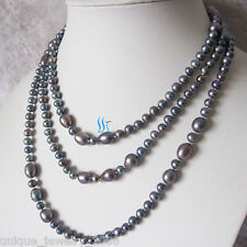"""54"""" 4-9mm Dark Gray Freshwater Pearl Necklace Strand Jewelry"""
