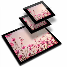 Glass Placemat  & 2x Coaster  - Pink Cosmos Flower  #16633