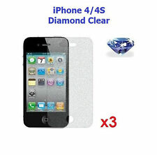 3 x New Diamond Sparkling Glitter Screen Protector for Apple iPhone 4 / 4S