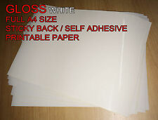 10 x A4 White/Cream [Gloss] Self Adhesive Sticker Paper Sheet Address Label