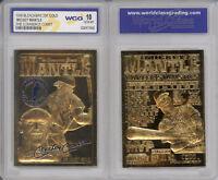 1996 Baseball Yankees MICKEY MANTLE Bleachers Commerce 23K GOLD CARD Graded 10