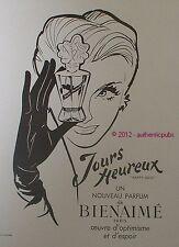 PUBLICITE PARFUM BIENAIME JOURS HEUREUX HAPPY DAYS DE 1949 FRENCH AD PUB ADVERT