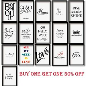 Motivational Inspirational Quotes Print Wall Art Home Decor Posters Prints