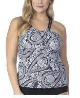 24th & Ocean Paisley High-neck Racerback Tankini Top Women's Swimsuit Sz S