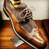 Chaussures à lacets en cuir véritable marron pour hommes faits à la main
