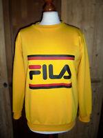 vintage 90s FILA sweatshirt pullover sport 90er jahre oldschool pulli gelb S/M