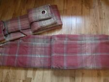 "NEXT Stirling Red Check Woven Eyelet THERMAL Lined Curtains Extra Wide 90"" X 90"""