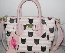 New Betsey Johnson DOME  Pink & white with black CAT cross-body mini satchel bag