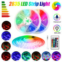 5M LED Strip Light RGB 2835 SMD Waterproof Tape Ribbon Lamp Power Full Kit Party