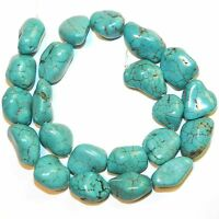NG2526 Blue-Green Turquoise Medium 18mm Magnesite Gemstone Nugget Bead 15""