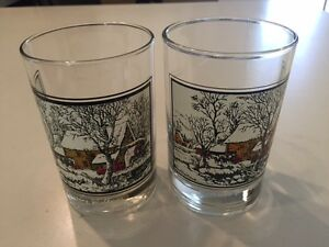"""2 ARBY'S CURRIER & IVES WINTER CHRISTMAS OLD FASHION ROCK GLASSES """"Frozen Up"""""""