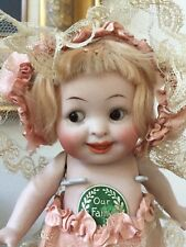 RARE Large Antique ALL Bisque Our Fairy 222 Doll w/ Glass Eyes All Original