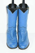 VINTAGE JUSTIN L3718 WOMENS 6.5 B BLUE LEATHER ROUND TOE ROPERS COWBOY BOOTS