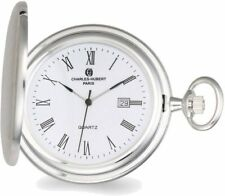 Charles Hubert Satin Sterling Silver Quartz Pocket Watch