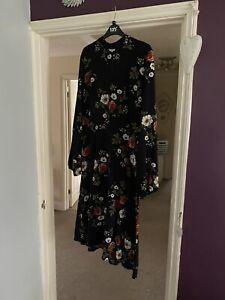 Boohoo High Neck Navy Floral Midi Dress 16