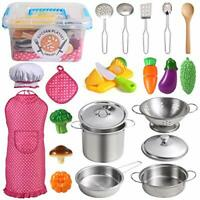 Juboury Play Kitchens Accessories Toys with Stainless Steel Cookware Pots and