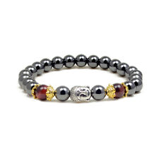 Accents Kingdom Magnetic Hematite Red Tiger's Eye Buddha Energy Bracelet 7.5""