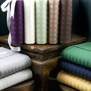 3 PC Duvet Set+Fitted Sheet 1000 TC Egyptian Cotton AU Sizes & Stripe Colors