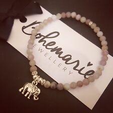 Purple jasper elephant good luck charm bracelet gemstone jewellery bijoux boho