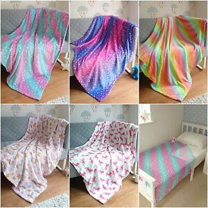 Fleece Blankets Girls Soft Fluffy Throw Kids Unicorn Gift For Women Cosy Bedding