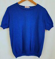 1970s Blue S/Sleeve Bri Nylon Frill Neck Top Mod Mad Men *16* KL69