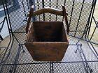 Primitive ANTIQUE 1800 s Americana  Wood Grain Basket Bucket SQUARE NAIL