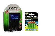 UNiROSS SMART FAST LCD CHARGER 4 x AA  DURACELL 2500 mAh RECHARGEABLE BATTERIES