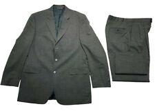 Savile Row Gold Mens Gray Wool 2 Piece Classic Suit 44L Jacket 38/32 Pants