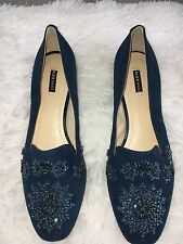 Alex Marie Crystal Embroidered Turquoise Flats Loafers Size 8.5