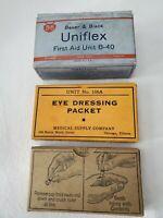3 Vintage Medical Supply boxes: Eye Dressing Packets, Iodine Brushes, Tourniquet