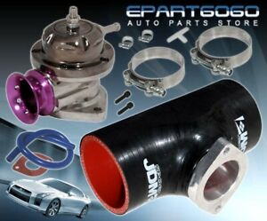 """Rs Style Jdm Silicone Adapter Pipe 2.5"""" Black X2 T-Bolt Clamps + Purple Lip BOV"""