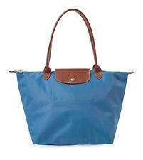 100 Auth Longchamp Le Pliage Shoulder Tote Bag Long Strap Ice Blue
