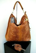 NWT ITALIAN X-LARGE SHOULDER BAG GENUINE LEATHER CROCO EMBOSSED - MADE IN ITALY