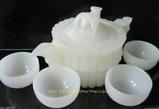 Chinese 100% Natural White Jade Hand-Carved Bamboo Teapot & 4 Cups e01
