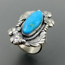 Handcrafted sterling silver oval turquoise feathers beads flowers ring size 8