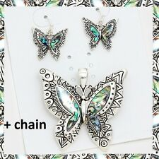 """Butterfly Wings Pendant Abalone Multi Color Necklace Earrings 23"""" Chain Aztec"""