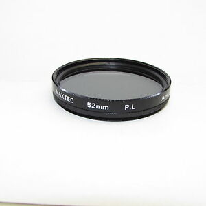 Used Maxtec PL Polarizer 52mm Lens Filter Made in Japan S311604