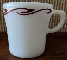 Vintage Pyrex Coffee Cup, White Milk Glass Brown Ribbon Print, 709-12, GUC