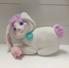Vintage 1993 Hasbro Bunny Surprise White Purple Plush Rabbit + 1 Baby, Collar