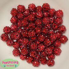 12mm Red Resin Rhinestone Bubblegum Beads Lot 40 pc.chunky gumball