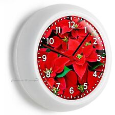 Red Poinsettia Christmas Holiday Season Flowers Wall Clock Room Home Room Decor