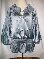 *RANCHO ESTANCIA* Silver Cowgirl Rodeo SHIRT TOP BLOUSE Tunic Bell Sleeves M NWT