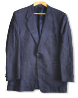 Canali Men's Size 48R Navy Blue 100% Linen 2-Button Jacket Blazer Made in Italy