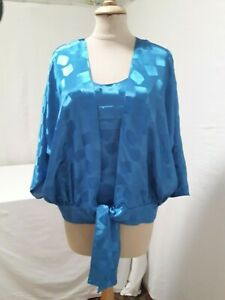 TWIN SET CHEMISIER BLOUSE + DEBARDEUR BLEU T.42 VINTAGE 80 BLUE TWIN SET siz L