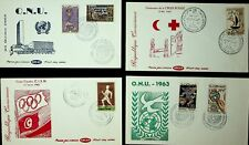 TUNISIA 1963 ONU/ CROSS-COUNTRY CISM/ RED CROSS CENTENARY 4 ILLUSTRATED FDC W/6v