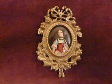 miniature XIXème portrait de femme cadre bronze doré