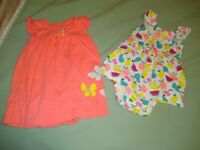Lot Of 2 Baby Infant Toddler Girl Summer Clothes Carter's Dress, 12 Mo