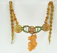 Antique Chinese Pierced Carnelian Disc Peking Glass Goldfish Jade Bead Necklace