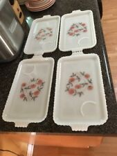 Vintage Milk Glass Snack Lunch Trays Plates Red Flowers Set of 4